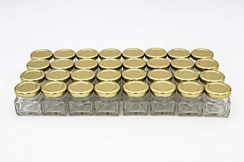 Flaschenbauer - 32 Mini Einmachgläser klein 40 ml Vierkant Gläser mit Schraubverschluss to 43 Gold - Mini Gläser mit Deckel perfekt als Mini Marmeladengläser klein, Honiggläser Mini