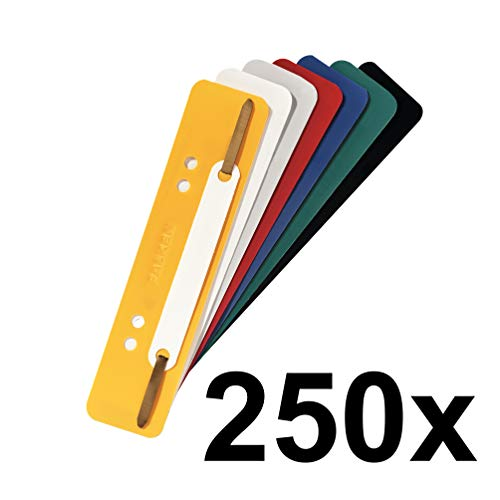 Original Falken 250er Pack Plastik-Heftstreifen Farbig sortiert. Aus PP-Folie kaufmännische Heftung Aktendulli Hefter Schnellhefter ideal für Büro und Schule