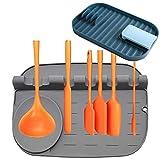 Soporte de cuchara de silicona para cocina, soporte de cuchara de cocina, soporte de utensilios de cocina de silicona con almohadilla de goteo, soporte para utensilios de cocina de 25,3 x 19 x 3,8 cm