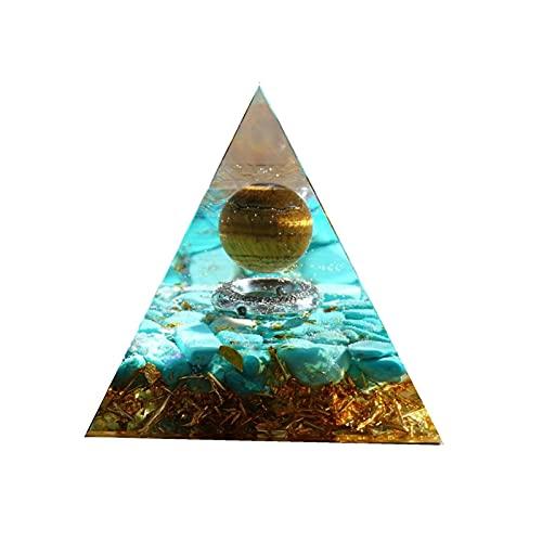 Sygjal Hecho a Mano Cristal de Cristal Bola Orgone Pyramid Tiger Eye con Turquesa Orgonite Energy Healing Reiki Chakra Piedra
