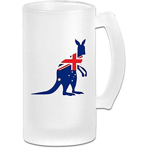 Taza de cerveza esmerilada de la bandera de Australia Vaso de cerveza de vaso 16 Oz / 500ml Vaso de agua