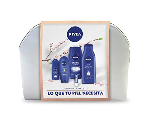 NIVEA Neceser Body Cuidado Completo con body milk 1 x 400 ml, crema de manos 1 x 100 ml, desodorante roll on 1 x 50 ml, gel de ducha 1 x 250 ml y bálsamo labial