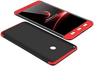 غطاء حماية كامل لهاتف شاومي مي ماكس 2 حماية 360 درجة، 3 في 1 من جي كي كي وغطاء بولي كربونات صلب - لون اسود احمر