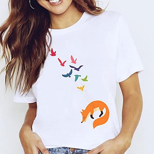 Camisetas para Mujer Camiseta Estampada Blanca con Estampado De Moda para Mujer,Zorro De Dibujos Animados De Verano Y Pájaro Volador con Gráficos De Animales,Ropa para Mujer,Camisetas para Mujer,CAM