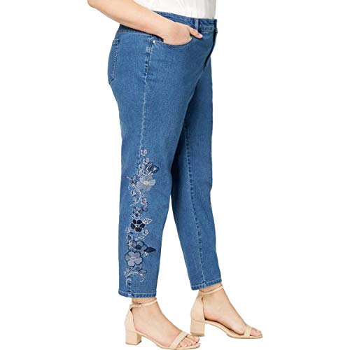 Charter Club Womens Plus Denim Embroidered Ankle Jeans Blue 18W