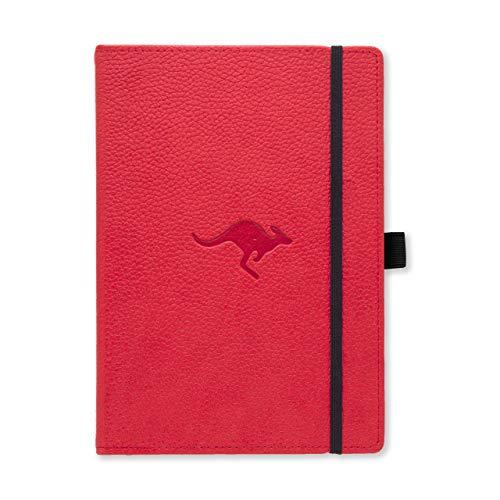 Dingbats D5006R Wildlife A5+ Hardcover Notizbuch - PU-Leder, Mikroperforiert 100gsm Creme Seiten, Innentasche, Gummiband, Stifthalter, Lesezeichen (Blanko, Rotes Känguru)