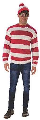 Rubie's Men's Where's Waldo Deluxe Waldo Adult Sized Costumes, As Shown, Standard US