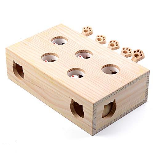 HSHXY Katzenspielzeug Interaktive, Maus Massivholzpuzzle Box Whack A Mole Mouse 5 Löcher, IQ Trainingsspielzeug Lustige Leckereien Übungsspiele für Puppys Kitten