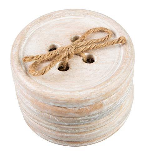 Sass & Belle - 6 Posavasos con diseño de botón de Madera, de Color marrón