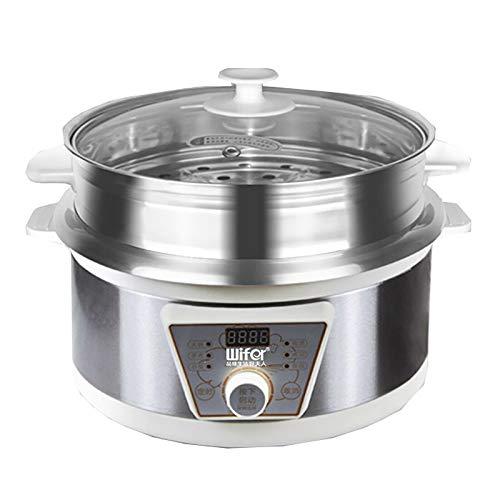 5L Elektrisch Multikocher Reiskocher Schongarer Slow Cooker Timing-Funktion, Topfwärmer mit Dampfgarer für Suppen, Aufläufe, Eintöpfe