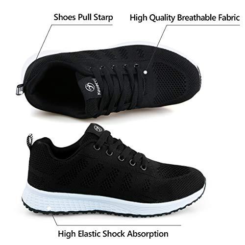 Youecci Zapatillas de Deportivos de Running para Mujer Deportivo de Exterior Interior Gimnasia Ligero Sneakers Fitness Atlético Caminar Zapatos Transpirable Negro 35 EU