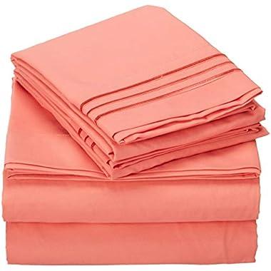 TasteLife 105 GSM Deep Pocket Bed Sheet Set Brushed Hypoallergenic Microfiber 1800 Bedding Sheets Wrinkle, Fade, Stain Resistant - 4 Piece(Coral,King)