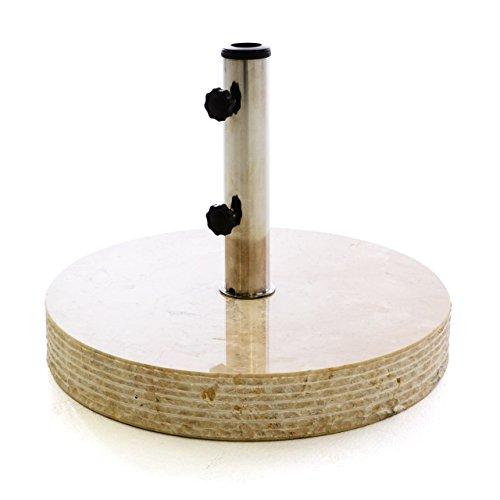 Nexos Sonnenschirm-Ständer Marmor poliert Creme beige rund Ø 50 cm 40 kg Schirmständer Edelstahl-Hülse inkl. Reduzierringe