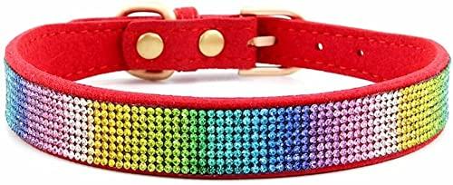 Juego de correa para perro con cuello de piel de ante suave y deslumbrante, con diamantes de imitación y diamantes de imitación (color: rojo-2, tamaño: XS)