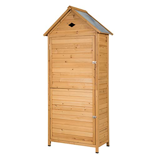 Goplus Outdoor Storage Shed, Lockable Fir Wood Garden Tool Storage Cabinet with Galvanized Sheet Roof for Garden, Yard, Natural Color