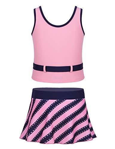 YiZYiF Traje de Baño Dos Piezas para Niñas Falda Bikini + Camiseta de Natación Bañadores Tankinis Ropa Deportiva Tenis Ropa de Playa Verano 8-16 Años Rosa 14 Años