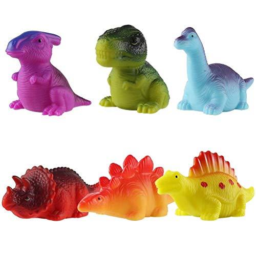 HEITIGN 6 Piezas de Juguetes de Baño para Bebés Juguetes de Baño de Dinosaurios con Luz LED para Niños Juguetes de Goma Flotantes LED para Bebés Juguetes de Dinosaurios Luminosos Juguetes
