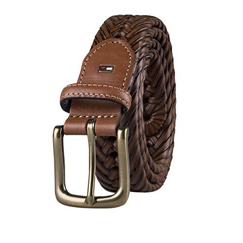 Tommy Hilfiger Men's Braided Belt, Saddle, 34
