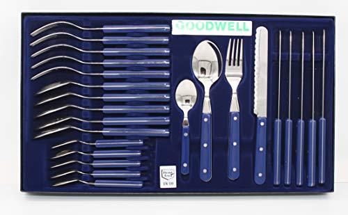 Goodwell Besteck, Messer, Gabel und Löffel Set (24 Teilig) im Etui mit Wellenschliff (Blau)