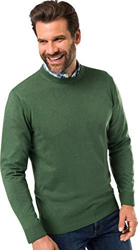 Royal Spencer Herren Rundhals-Pullover aus Kaschmir-Seide, Kaschmirpullover in Grün, kuscheliger Winterpullover, angenehm zu tragen (Gr: M - XL)