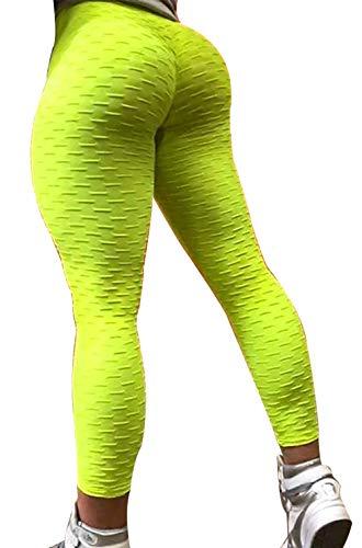 Mallas Brasil Running Correr y Andar Deportivas para Mujer y Fitness. (Amarilla brocada New) - S