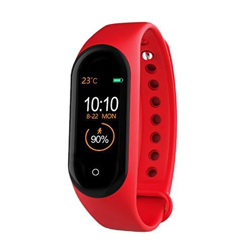 Senmubery M4 Banda Inteligente Pulsera Salud Frecuencia Cardíaca Presión Arterial Monitor de Frecuencia Cardíaca Podómetro Deportes Pulsera Rojo