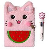 Luolizon Cat Diary for Girls with Lock and 2 Keys ,Kids Journal Notebook Gift Set with Multicolored Pen , 80 Sweet Heart Lined Sheets