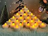 Battery Operated LED Tea Lights, Flameless Tealights Candle with Yellow Flickering Light,Small Electric Fake Tea Candle Realistic for Wedding Christmas, Halloween, Table,Outdoor Celebration(24pcs)