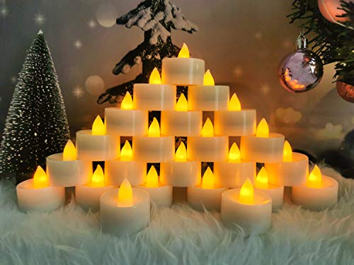 Battery Operated LED Tea Lights, Flameless Tealights Candle with Warm White Flickering Light,Small Electric Fake Tea Candle Realistic for Wedding Christmas Holiday, Table,Outdoor Celebration(24pcs)