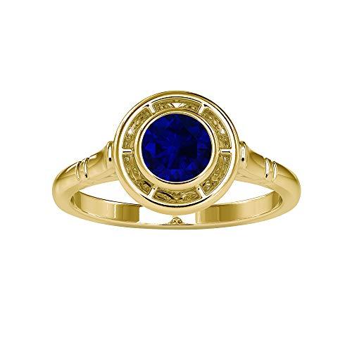 Anello solitario da 5,00 mm con zaffiro blu, semplice anello di fidanzamento, lunetta in oro (qualità AAA), 14K Giallo oro, Size:EU 65