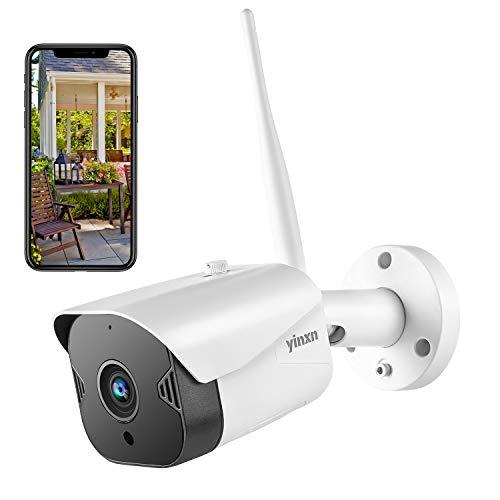 YINXN Videocamera Sorveglianza Esterno WiFi di Sicurezza 1080P, Telecamera impermeabile 2MP, Visione Notturna, Audio Bidirezionale, Accesso Remoto, Rilevazione di Movimento, Supporta SD Card