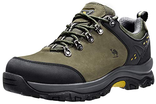 CAMEL CROWN Men's Hiking Shoes Low Top Trekking Boots Non-Slip Walking Sneakers for Outdoor Work Trail Casual(Army Green,11)