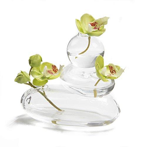 Chive - Hudson Rockpile, vaso da fiori in vetro, piccolo ed elegante, vaso decorativo per casa, ufficio