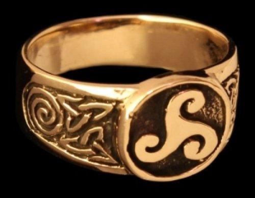 Triskel Siegelring Ring aus Bronze verzierter Wikingerring Bronzering LARP Wikinger Mittelalter...