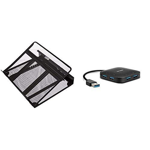 AmazonBasics Laptopständer, belüftet, verstellbar & TP-Link UH400 4-Port-USB-3.0-Hub (bis zu 5Gbit/s, 4 Steckplätze, Plug & Play, Hot Swapping, Windows 10/8.1/8/7/Vista/XP, MacOS X und Linux) schwarz