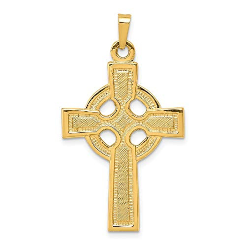 14k Yellow Gold Solid Polished Irish Claddagh Celtic Trinity Knot Religious Faith Cross Charm Pendant Necklace Measures 27x20mm Jewelry Gifts for Women