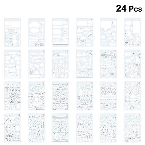 SUPVOX 24pcs Halloween Weihnachten Zeichnung Vorlagen Hallow Malerei Schablonen Vorlagen Grafik Schablonen für DIY Fotoalbum Scrapbooking Kuchen machen