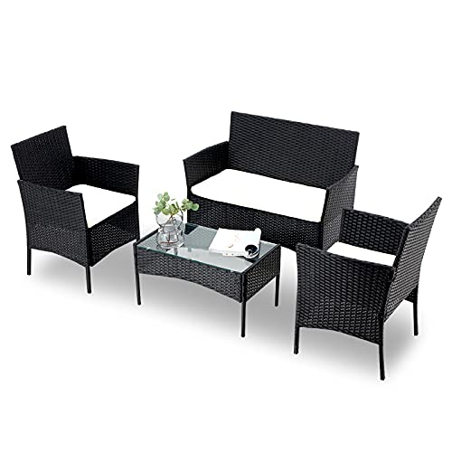 4-Piece Outdoor Patio Furniture Sets Rattan Chair GTQuality Wicker Patio Armchair Sofa Set with Seat...
