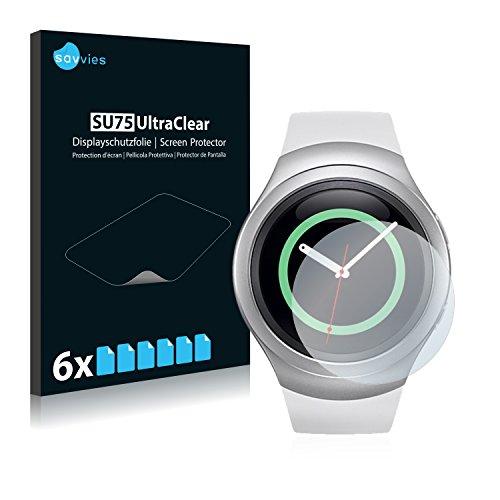 Savvies 6X Schutzfolie kompatibel mit Samsung Gear S2 Bildschirmschutz-Folie Ultra-transparent