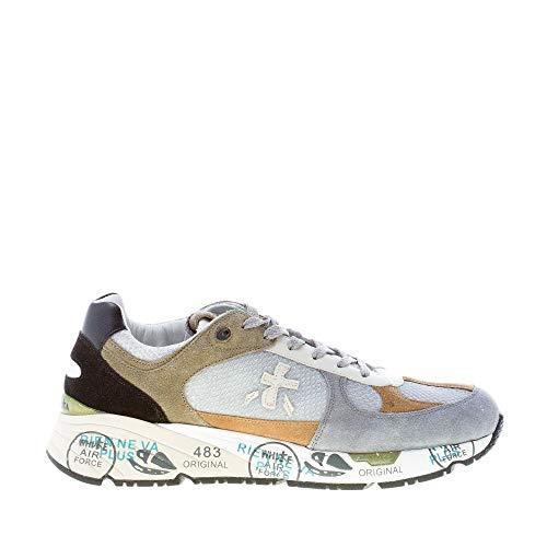 PREMIATA Uomo Sneaker Mase 3887 in Tessuto e camoscio Grigio più Verde Color Multicolore Size 40