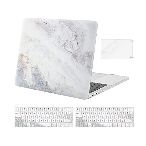 MOSISO Compatible with MacBook Pro 13 inch Case 2016-2020 Release A2338 M1 A2251 A2289 A2159 A1989 A1706 A1708, Plastic Pattern Hard Shell Case&Keyboard Cover&Screen Protector, Beige Grey Marble