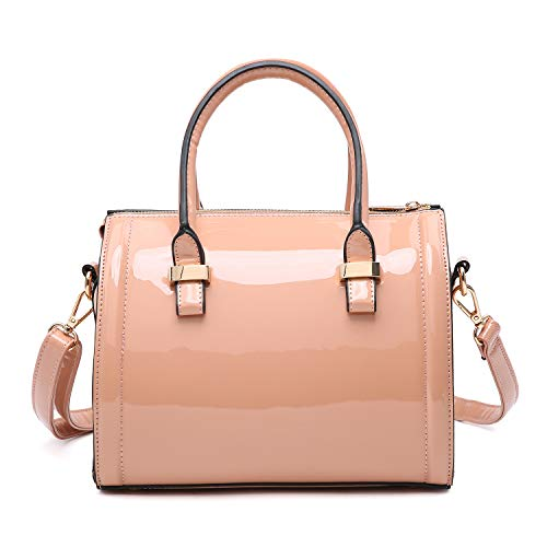 Shiny Patent Faux Leather Handbags Barrel Top Handle Satchel Bag Shoulder Bag for Women (6373 small size pink)