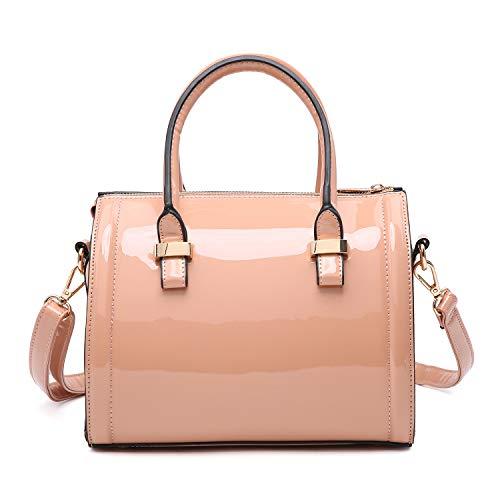 Shiny Patent Faux Leather Handbags Barrel Top Handle Purse Satchel Bag Shoulder Bag for Women(Pink)