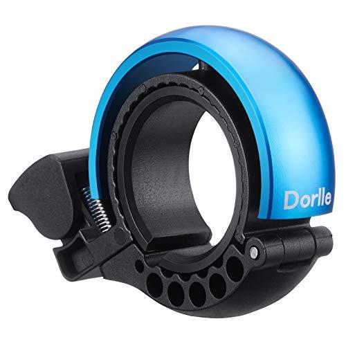Dorlle Timbre de bicicleta de aleación de aluminio con diseño en forma de Q El sonido es claro y muy alto volumen para bicicleta de montaña para manillares de 22,2 a 31,8 mm (azul)