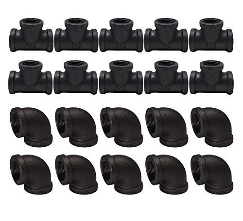 """Eagles - Estantería de pared industrial 1/2"""" - Conexiones de fontanería negras 10 codos de tuberías, 10 unidades de tubos para estantería Steampunk, tubos industriales"""