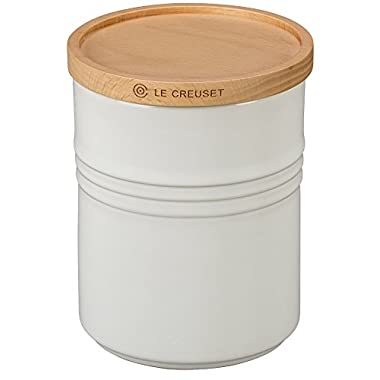 Le Creuset of America 5 1/2  Canister with Wood Lid, 2 1/2 quart, White