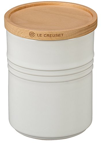 Le Creuset Stoneware Canister with Wood Lid, 2.5 qt. (5.5' diameter), White