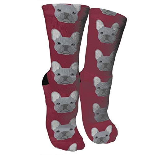 Frenchie French Bulldog Compression Socks Unisex Printed Socks Crazy Patterned Fun Long Cotton Socks Over The Calf Tube