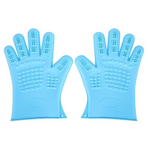 DAUERHAFT Pet Gentle Deshedding Brush Glove,Efficient Pet Hair Remover Mitt,Enhanced Five Finger Design,Waterproof Shower Bathing, Dog & Cat (Blue)