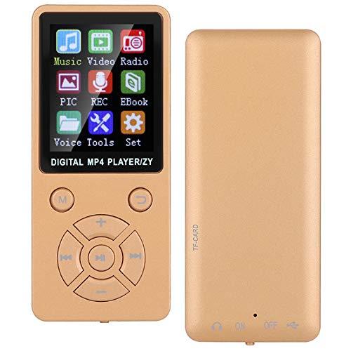 Reproductor MP3, T1 Music MP3 Reproductor MP4 Compatible con Memoria 32G Botones tácticos de Ocho diagramas Admite música, Radio, grabación, Video, Libro electrónico, función(Oro)